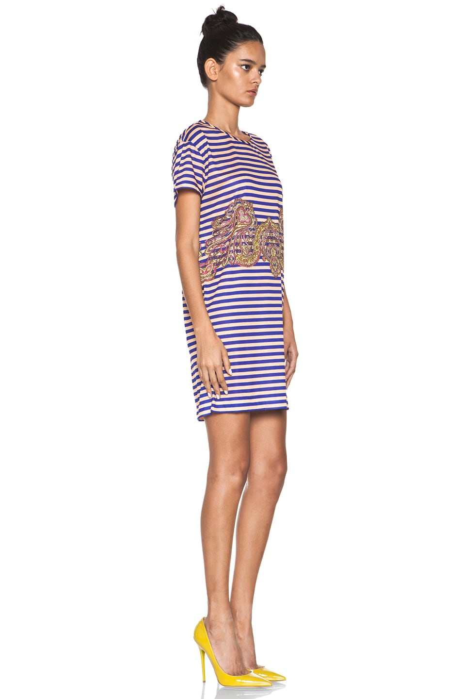 Image 3 of Carven Striped Jersey/Cashmere Dress in Ink