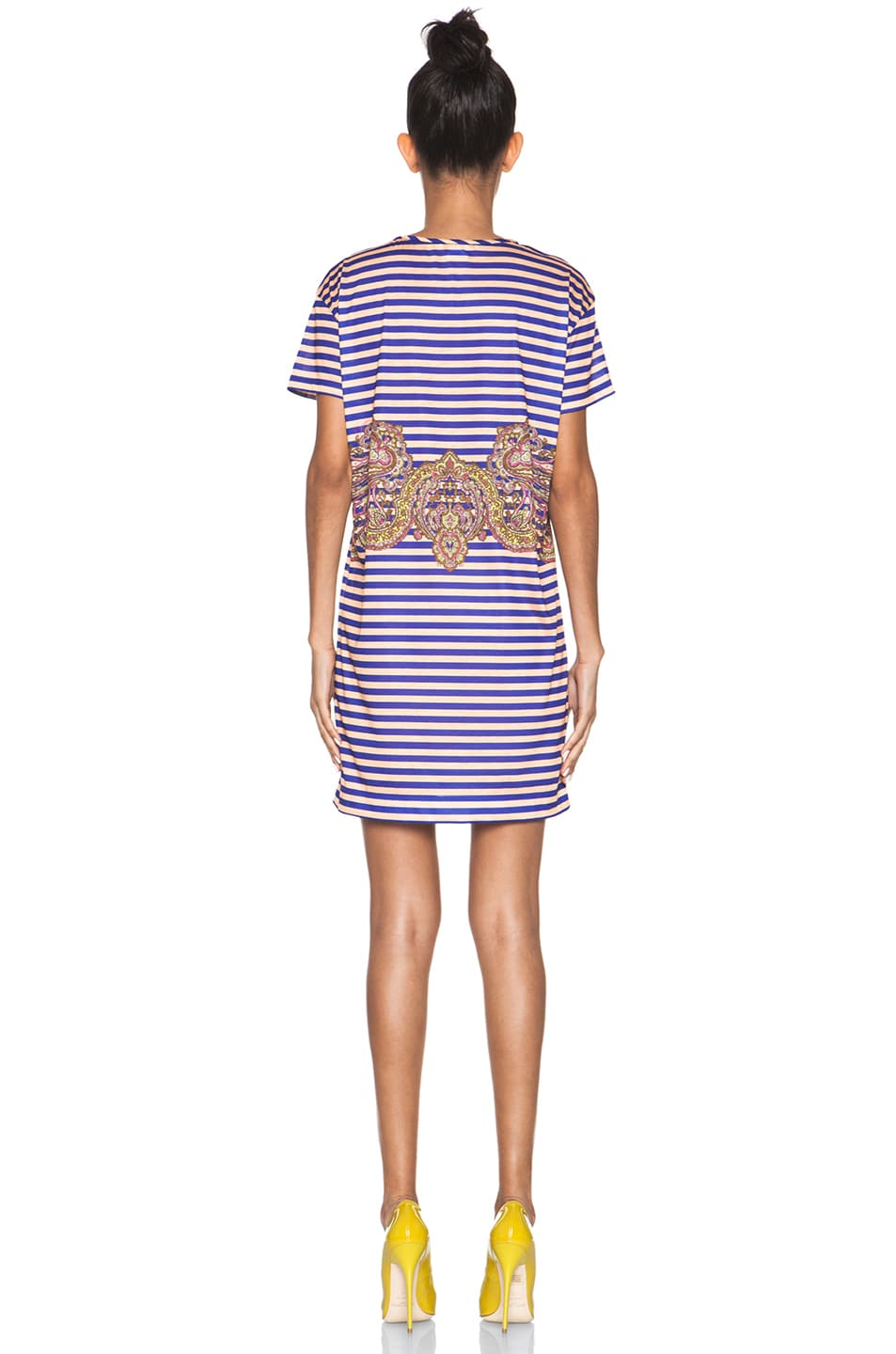Image 4 of Carven Striped Jersey/Cashmere Dress in Ink