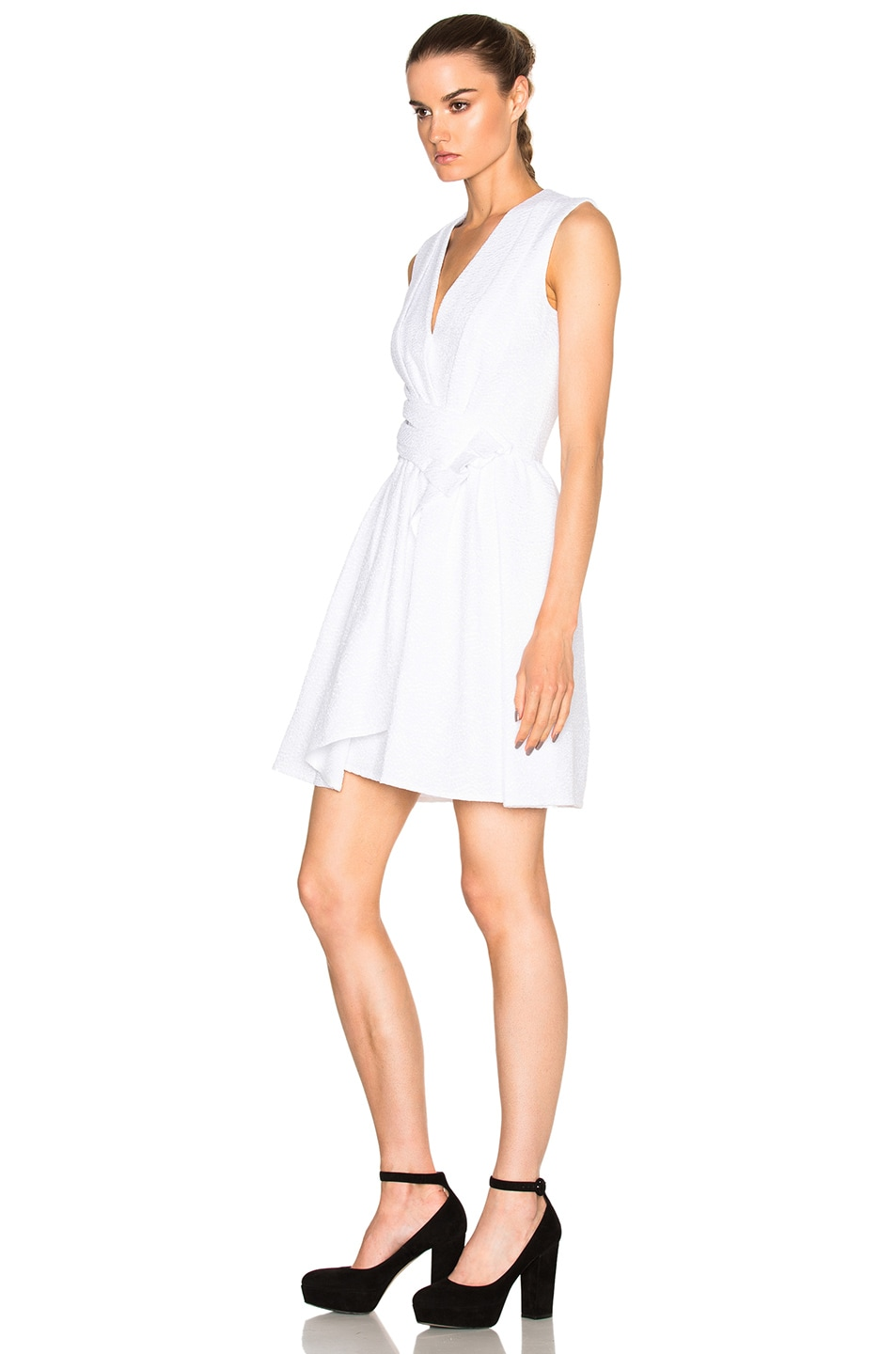 Image 2 of Carven Draped Dress in White