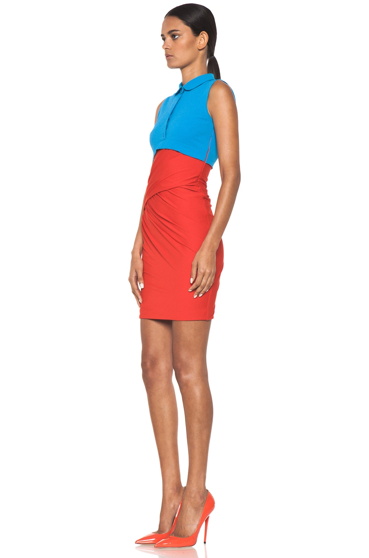 Image 2 of Carven Polo Viscose Mini Dress in Vermillon & Turquoise
