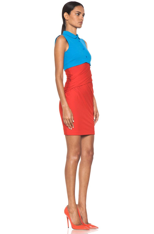 Image 3 of Carven Polo Viscose Mini Dress in Vermillon & Turquoise