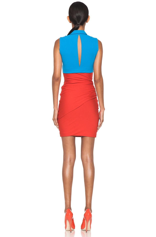 Image 4 of Carven Polo Viscose Mini Dress in Vermillon & Turquoise