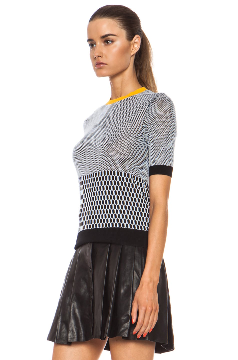 Image 2 of Carven Fancy Cotton Knit Top in Black & White