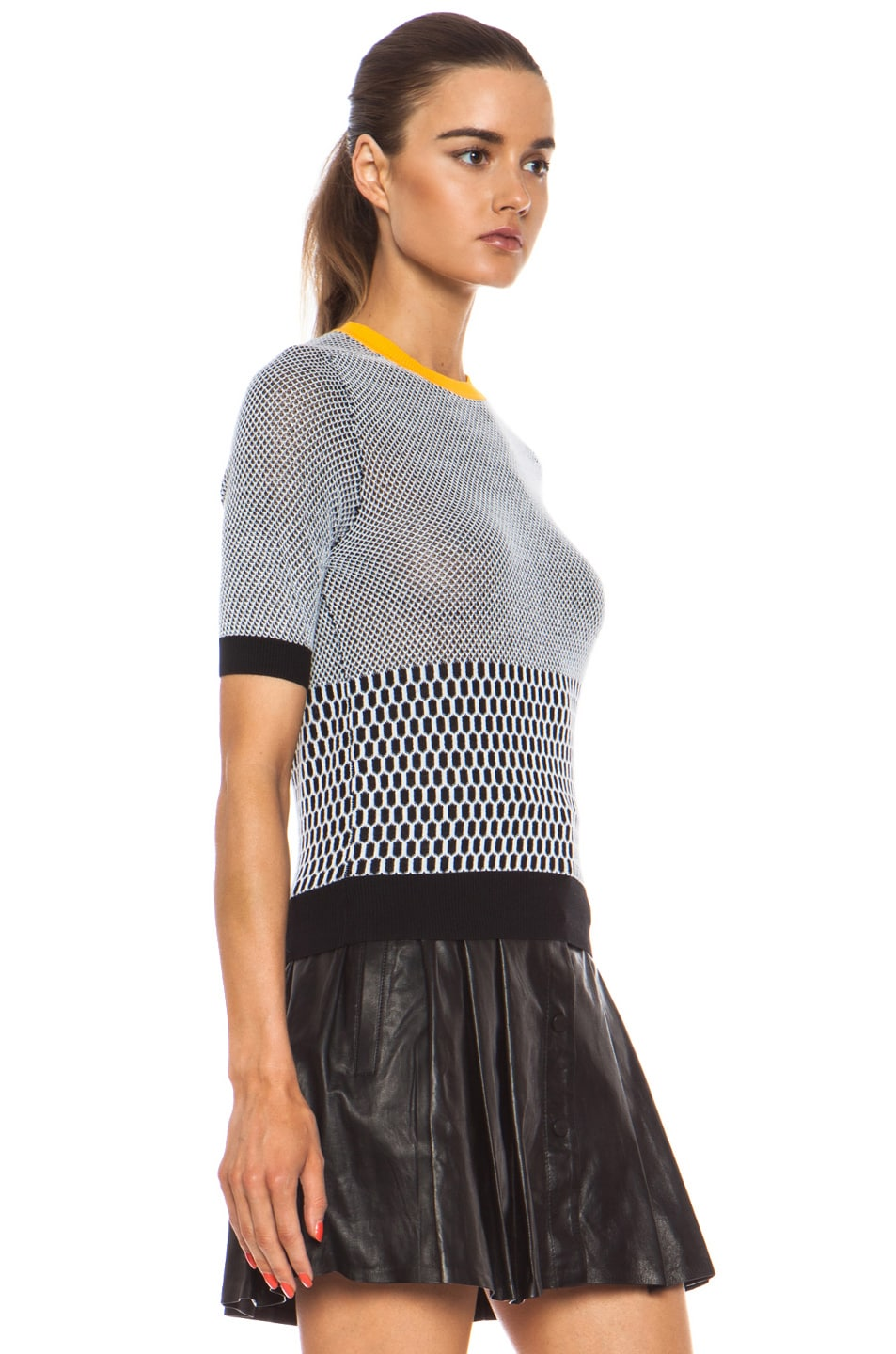Image 3 of Carven Fancy Cotton Knit Top in Black & White