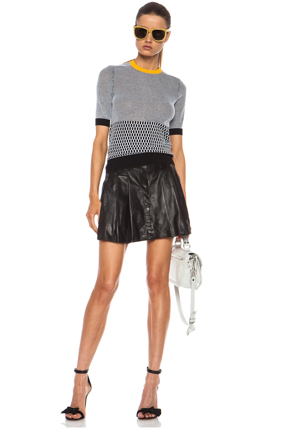 Image 5 of Carven Fancy Cotton Knit Top in Black & White