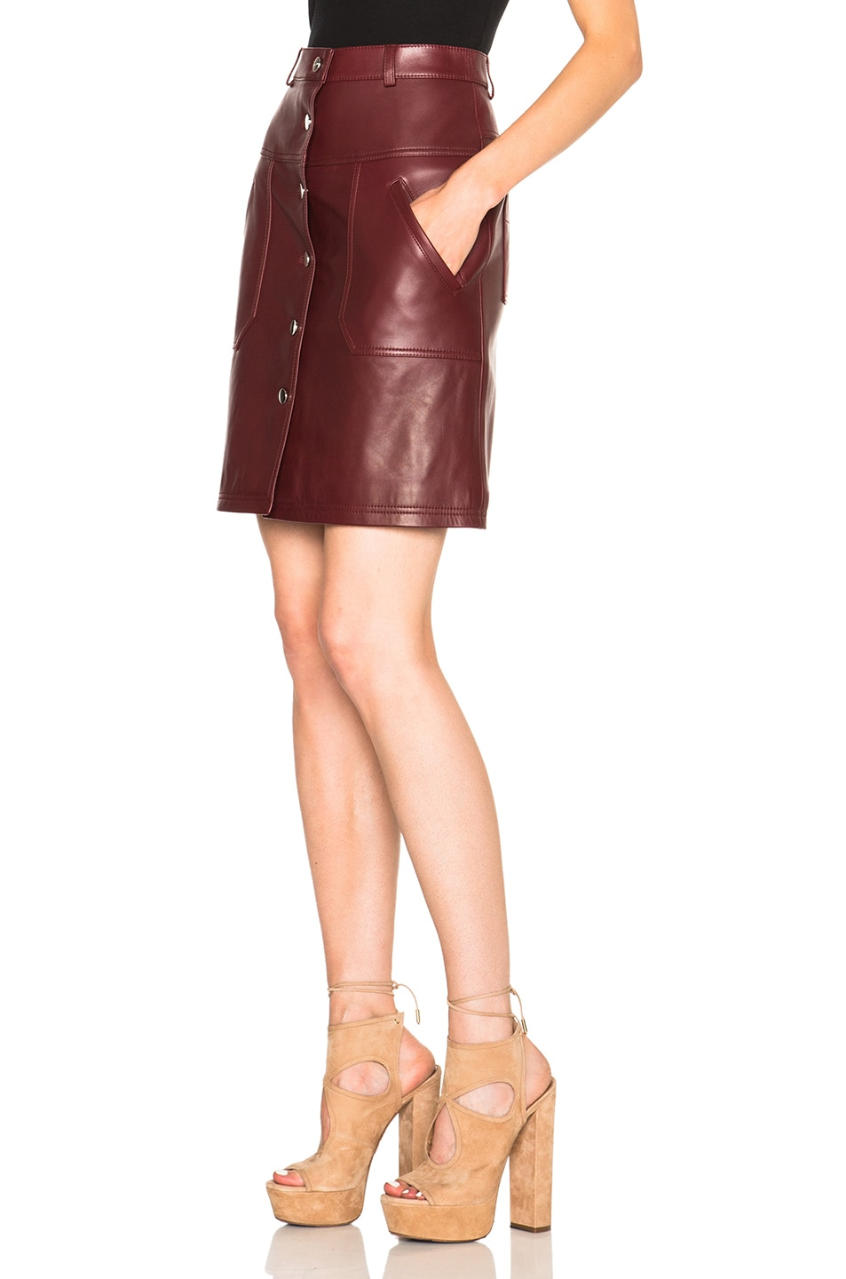 carven leather button skirt in bordeaux fwrd