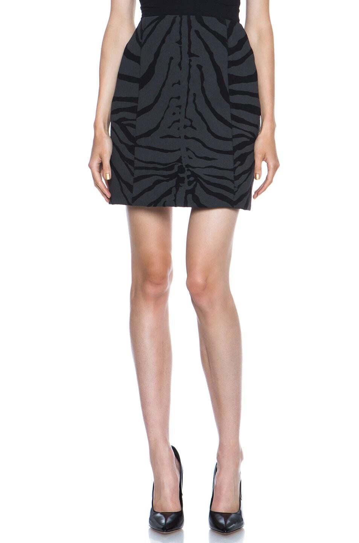 Image 1 of Carven Zebra Print Wool-Blend Skirt in Black