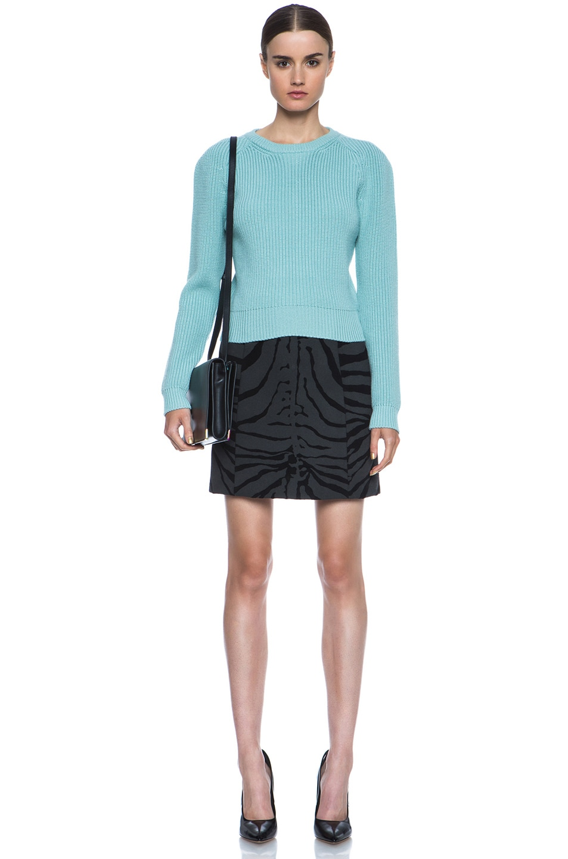 Image 5 of Carven Zebra Print Wool-Blend Skirt in Black