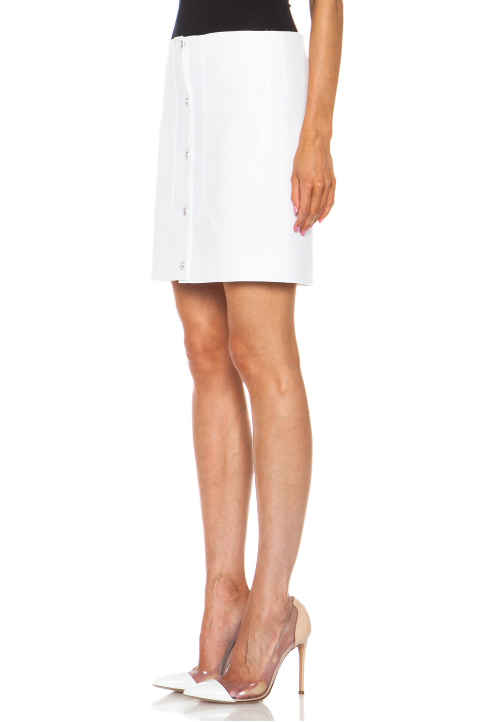 Image 2 of Carven Short Button Front Cotton Skirt in White