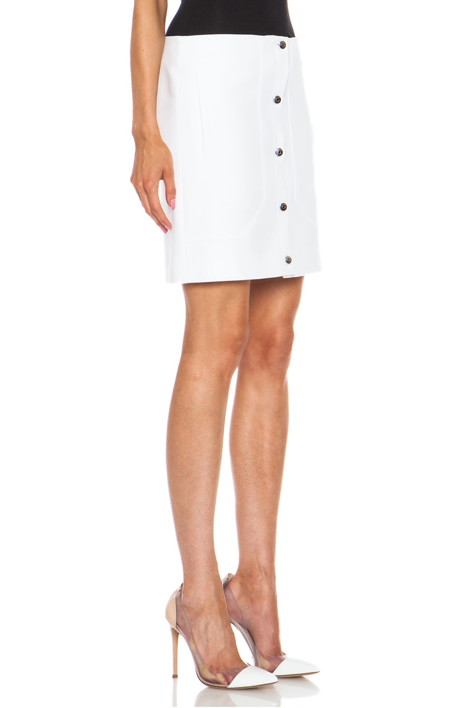 Image 3 of Carven Short Button Front Cotton Skirt in White
