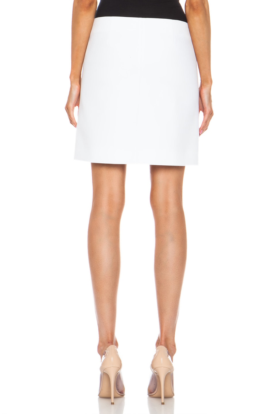 Image 4 of Carven Short Button Front Cotton Skirt in White