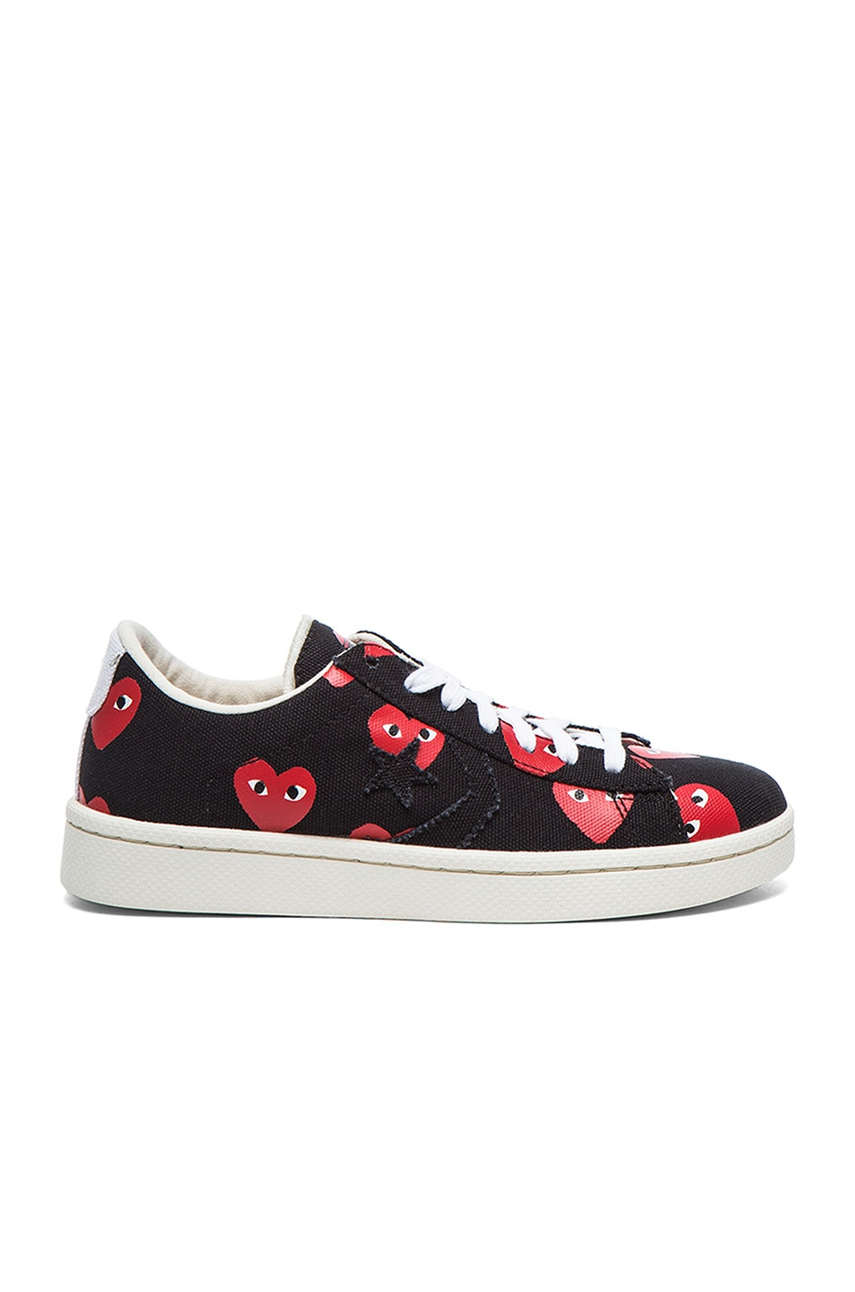 Image 1 of Comme Des Garcons PLAY Low Top Convas Sneakers in Black & Red