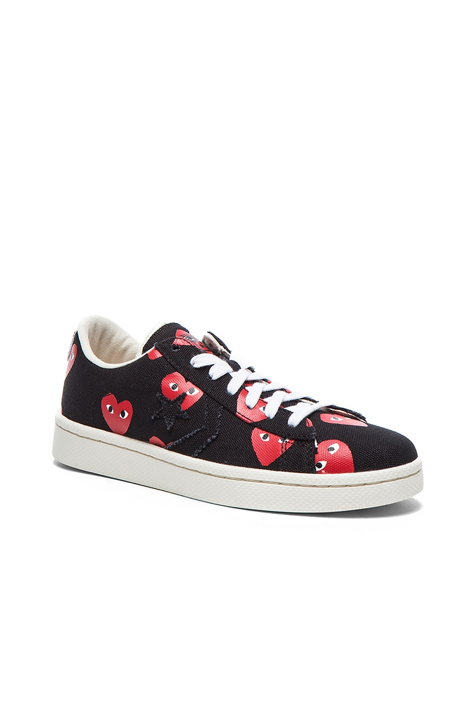 Image 2 of Comme Des Garcons PLAY Low Top Convas Sneakers in Black & Red