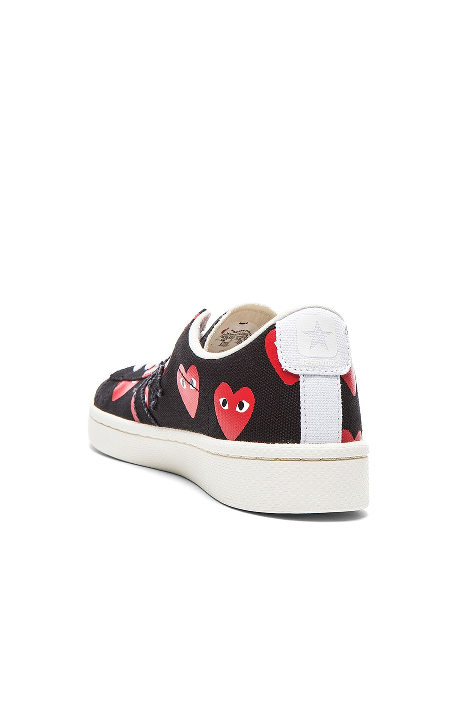 Image 3 of Comme Des Garcons PLAY Low Top Convas Sneakers in Black & Red