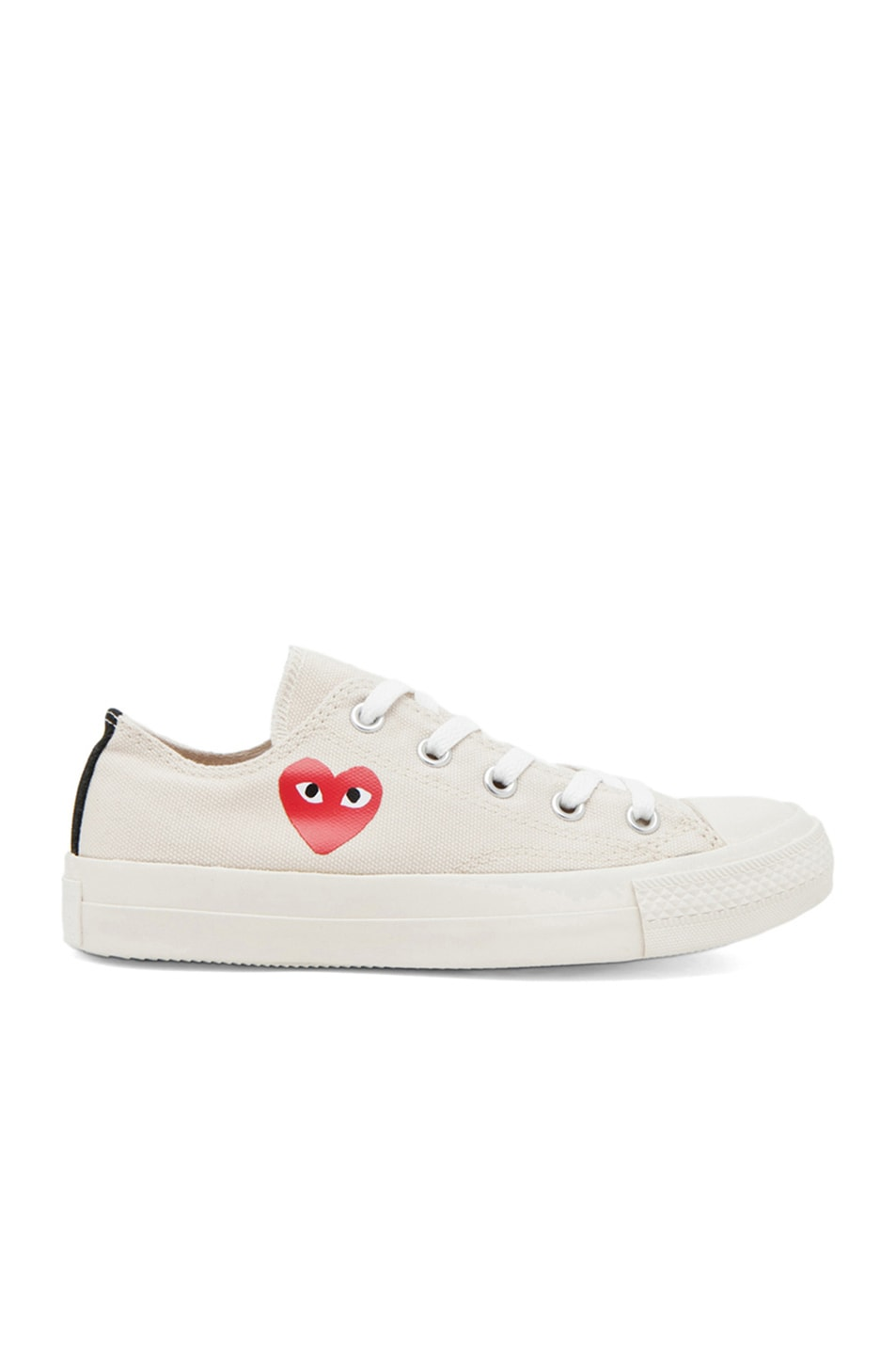 Image 1 of Comme Des Garcons PLAY Converse Canvas Sneakers in White & Red