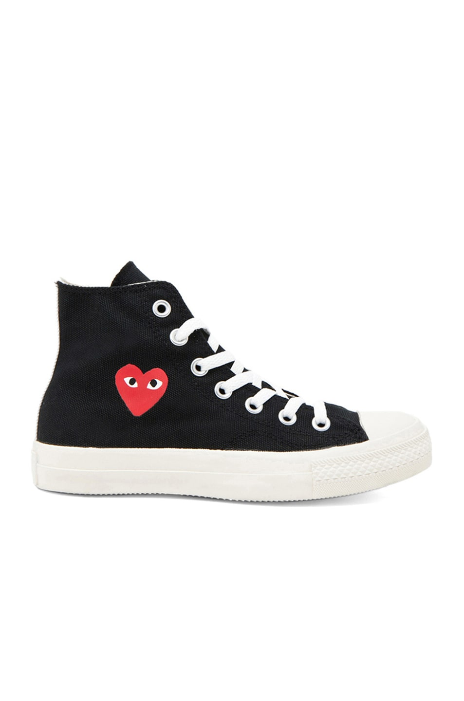Image 1 of Comme Des Garcons PLAY Converse High Top Canvas Sneakers in Black & Red