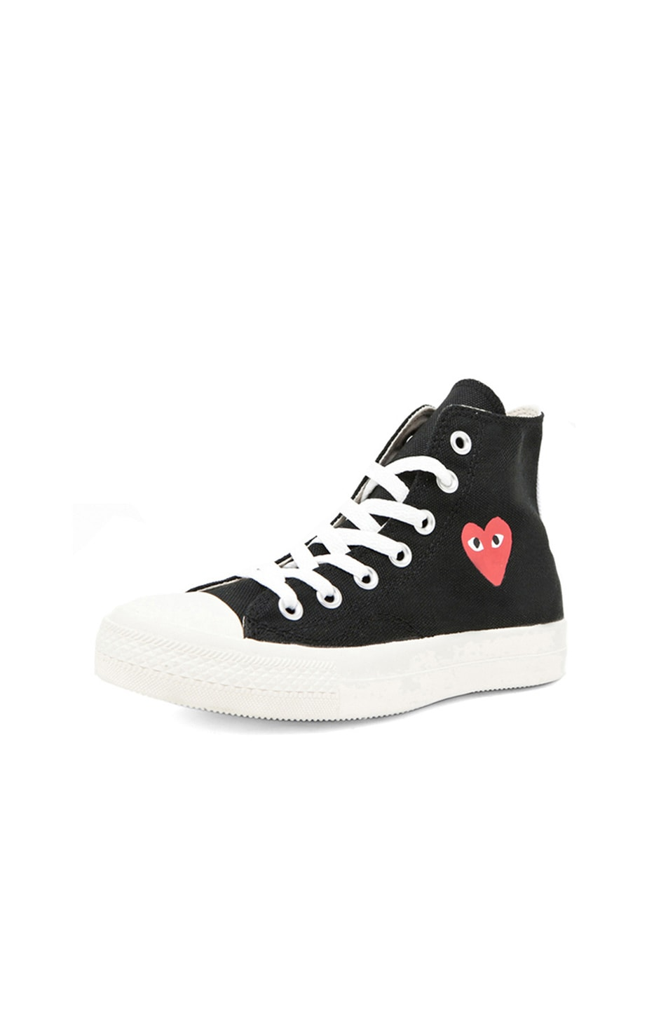 Image 2 of Comme Des Garcons PLAY Converse High Top Canvas Sneakers in Black & Red