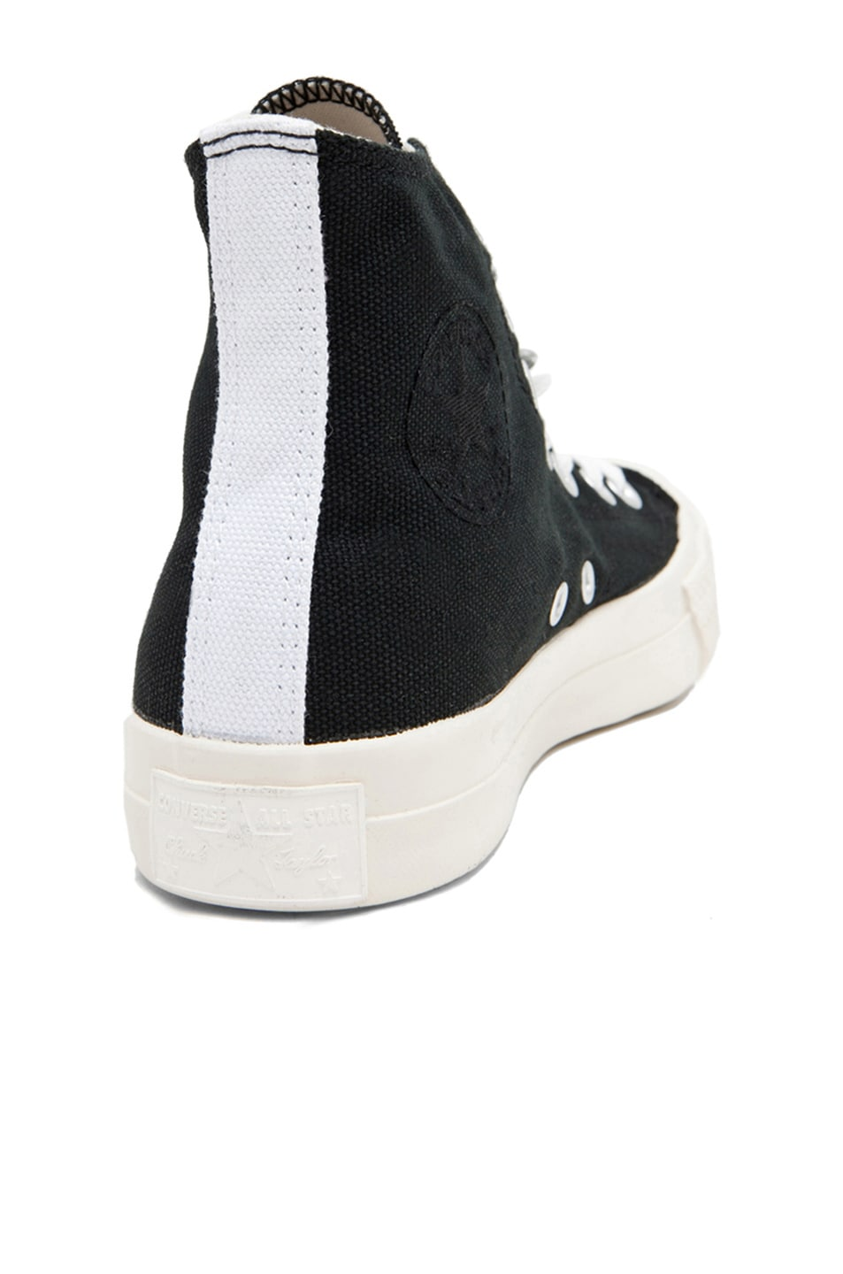 Image 3 of Comme Des Garcons PLAY Converse High Top Canvas Sneakers in Black & Red