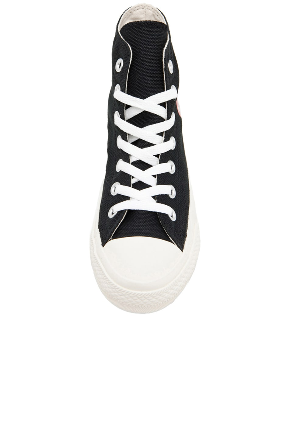 Image 4 of Comme Des Garcons PLAY Converse High Top Canvas Sneakers in Black & Red