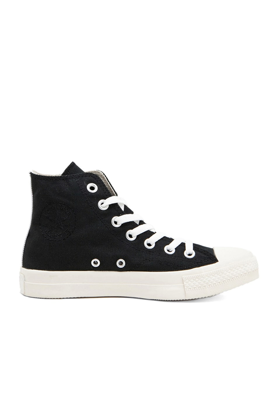 Image 5 of Comme Des Garcons PLAY Converse High Top Canvas Sneakers in Black & Red