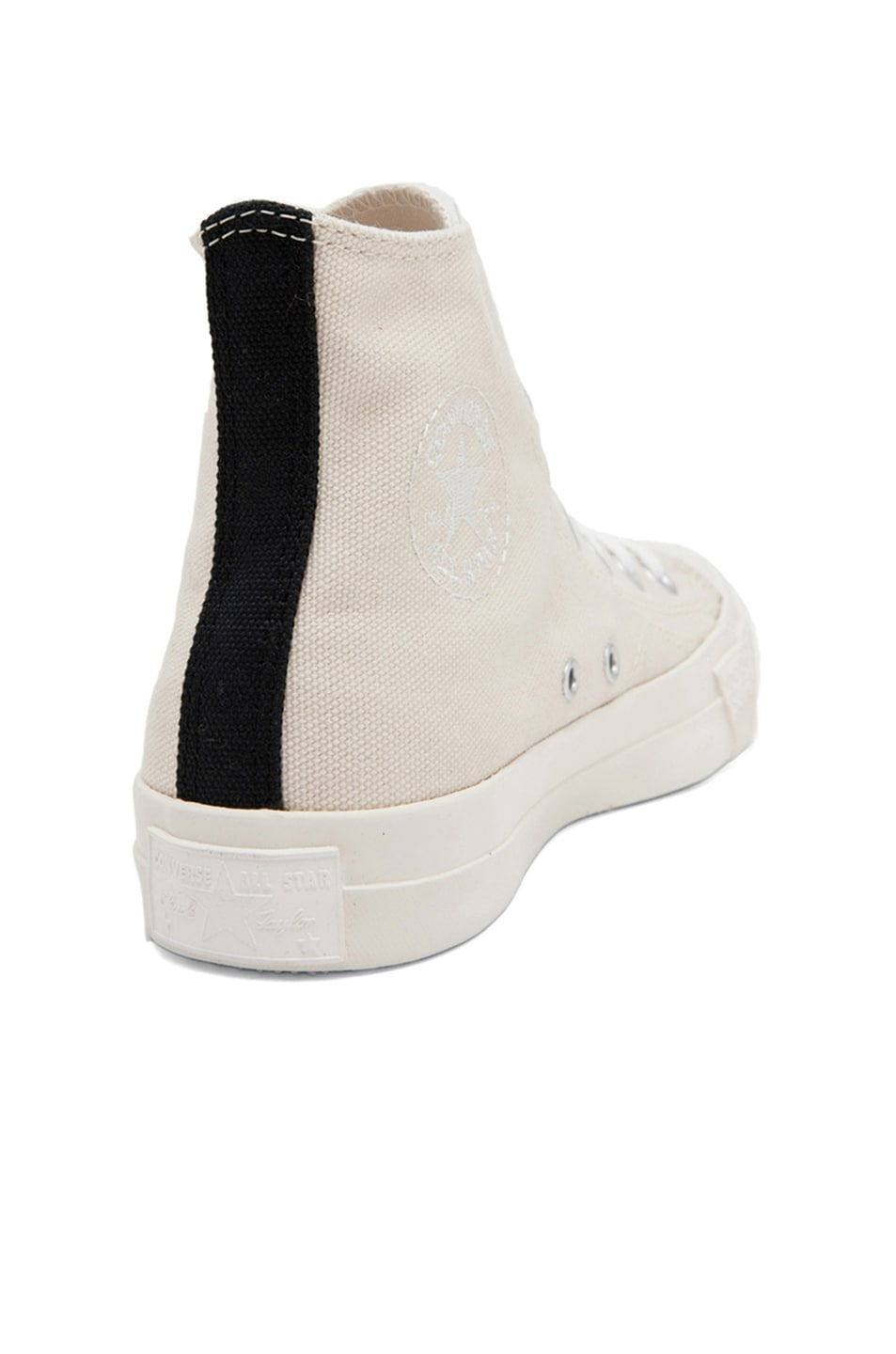 Image 3 of Comme Des Garcons PLAY Converse High Top Canvas Sneakers in White & White