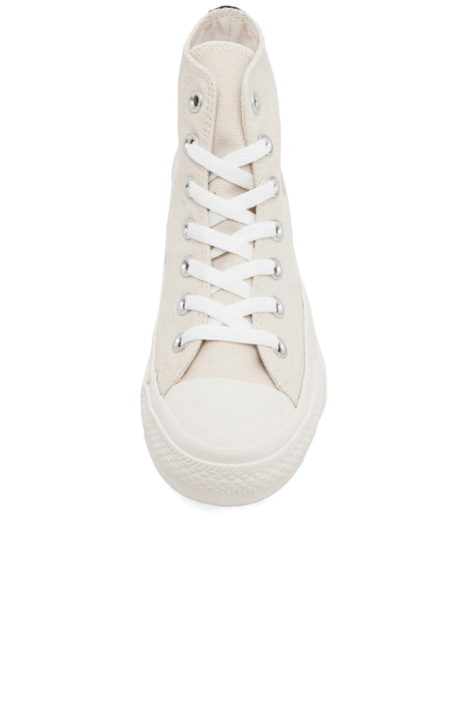 Image 4 of Comme Des Garcons PLAY Converse High Top Canvas Sneakers in White & White