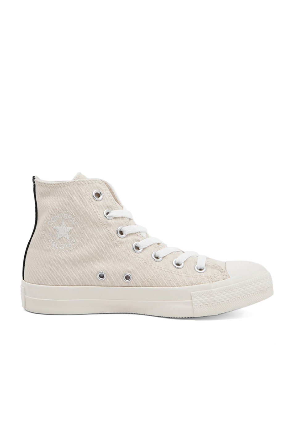 Image 5 of Comme Des Garcons PLAY Converse High Top Canvas Sneakers in White & White