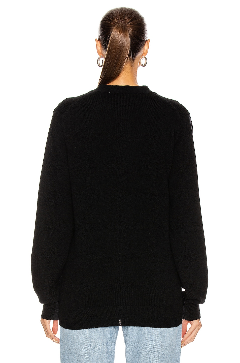 Image 3 of Comme Des Garcons PLAY Wool Red Heart Emblem Cardigan in Black
