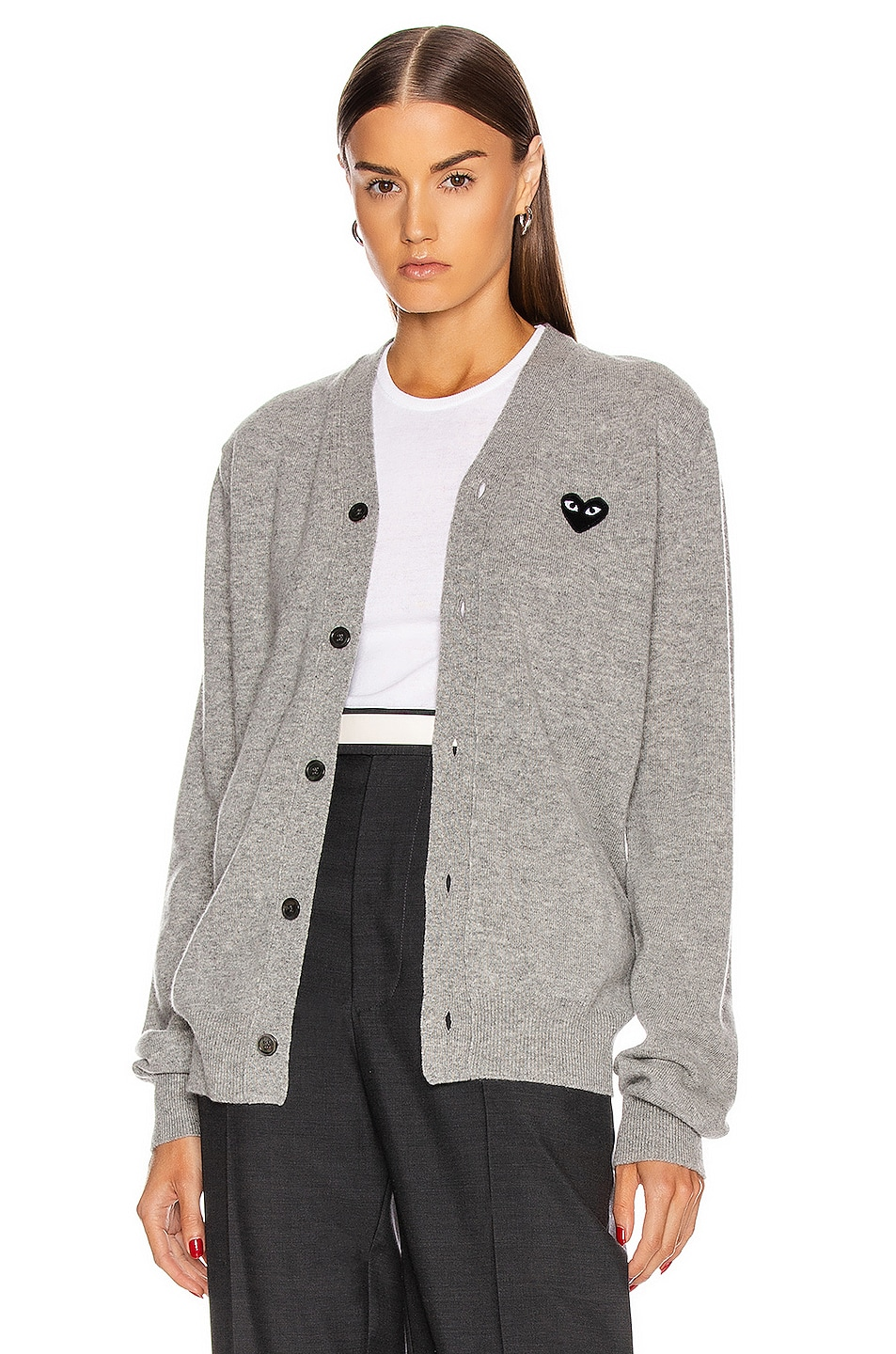 Image 1 of Comme Des Garcons PLAY Wool Black Heart Emblem Cardigan in Light Grey