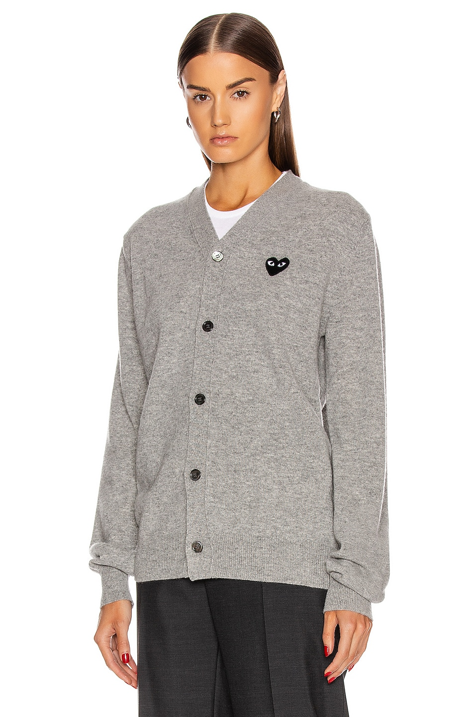 Image 2 of Comme Des Garcons PLAY Wool Black Heart Emblem Cardigan in Light Grey