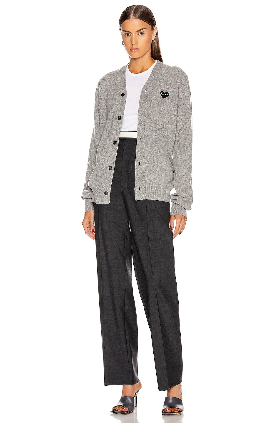 Image 5 of Comme Des Garcons PLAY Wool Black Heart Emblem Cardigan in Light Grey