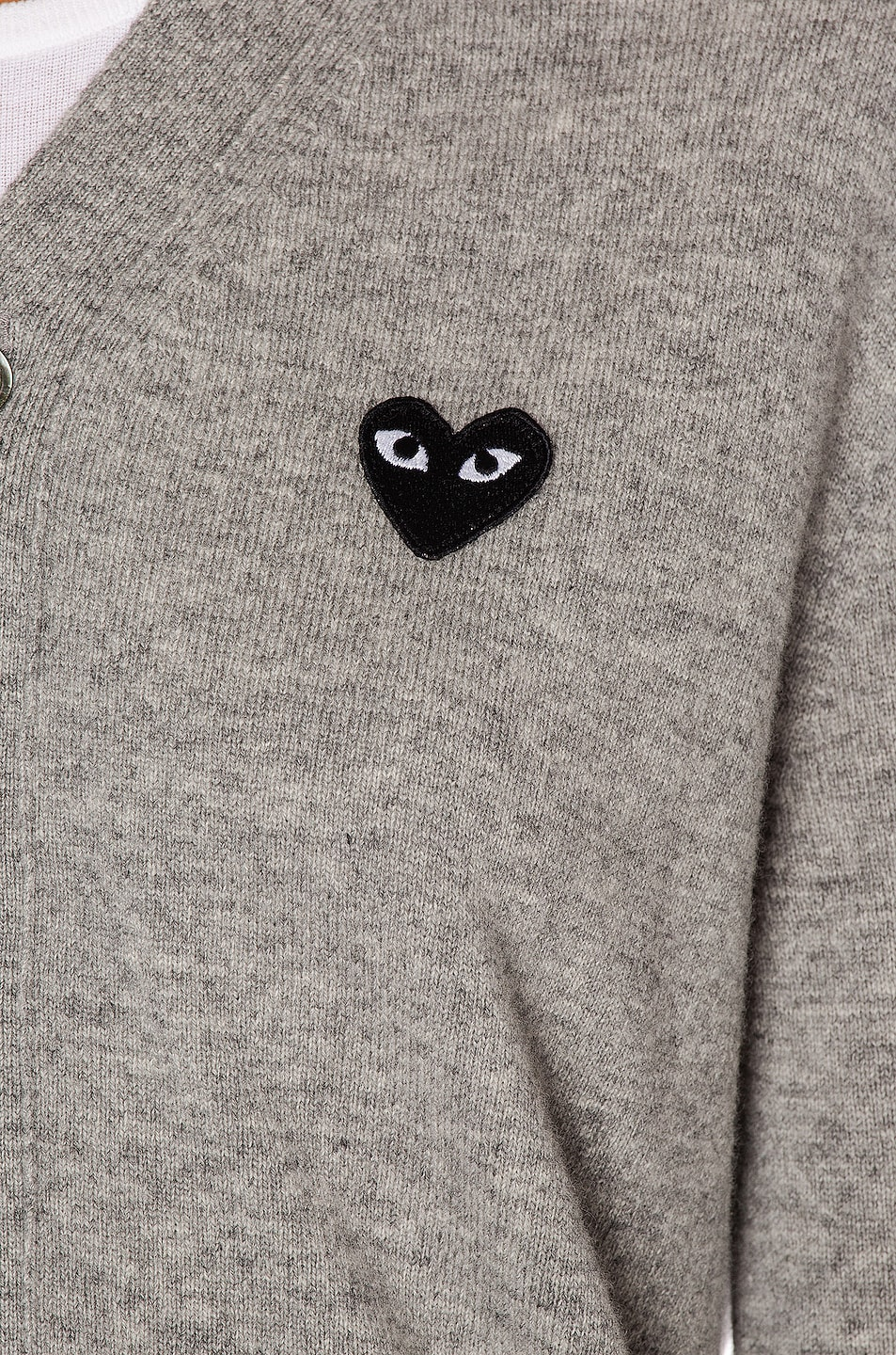 Image 6 of Comme Des Garcons PLAY Wool Black Heart Emblem Cardigan in Light Grey