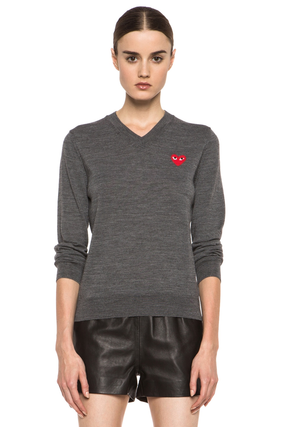 Image 1 of Comme Des Garcons PLAY Wool Red Emblem Sweater in Grey