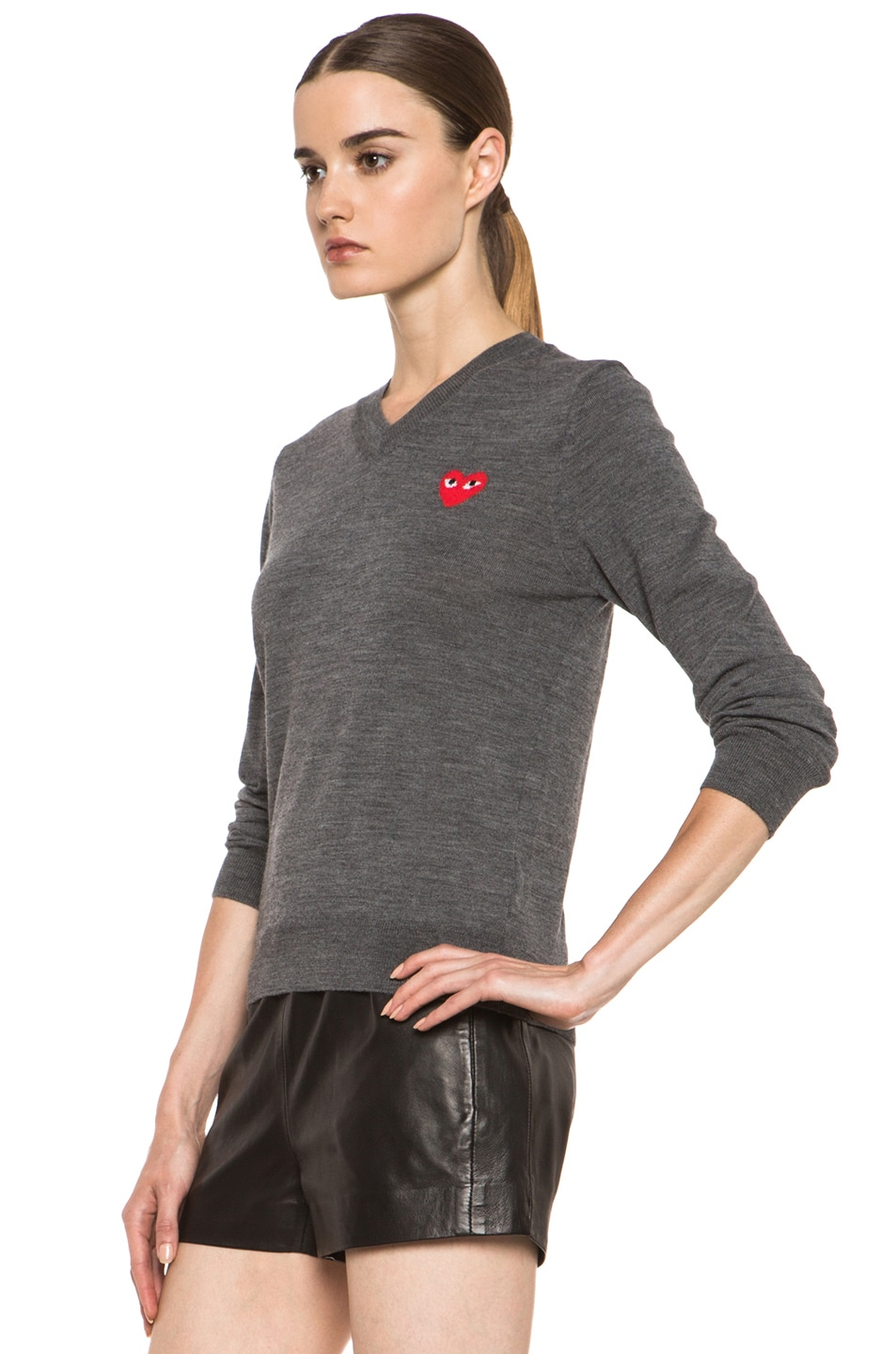 Image 2 of Comme Des Garcons PLAY Wool Red Emblem Sweater in Grey