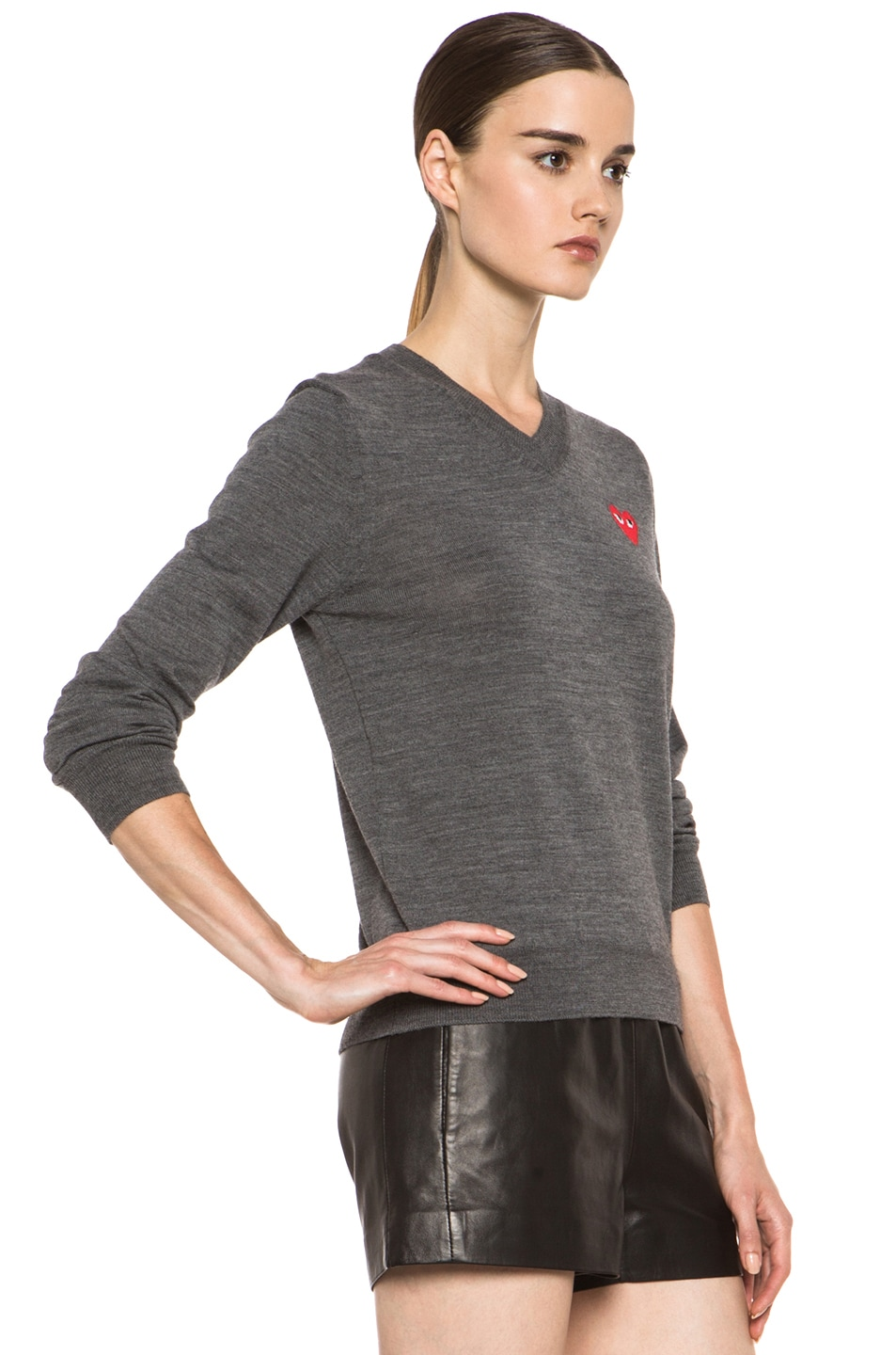 Image 3 of Comme Des Garcons PLAY Wool Red Emblem Sweater in Grey