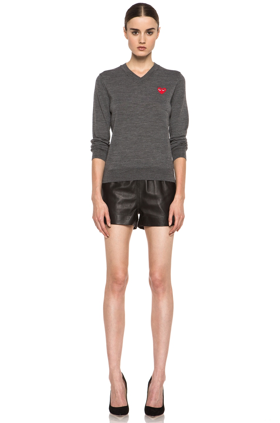 Image 5 of Comme Des Garcons PLAY Wool Red Emblem Sweater in Grey