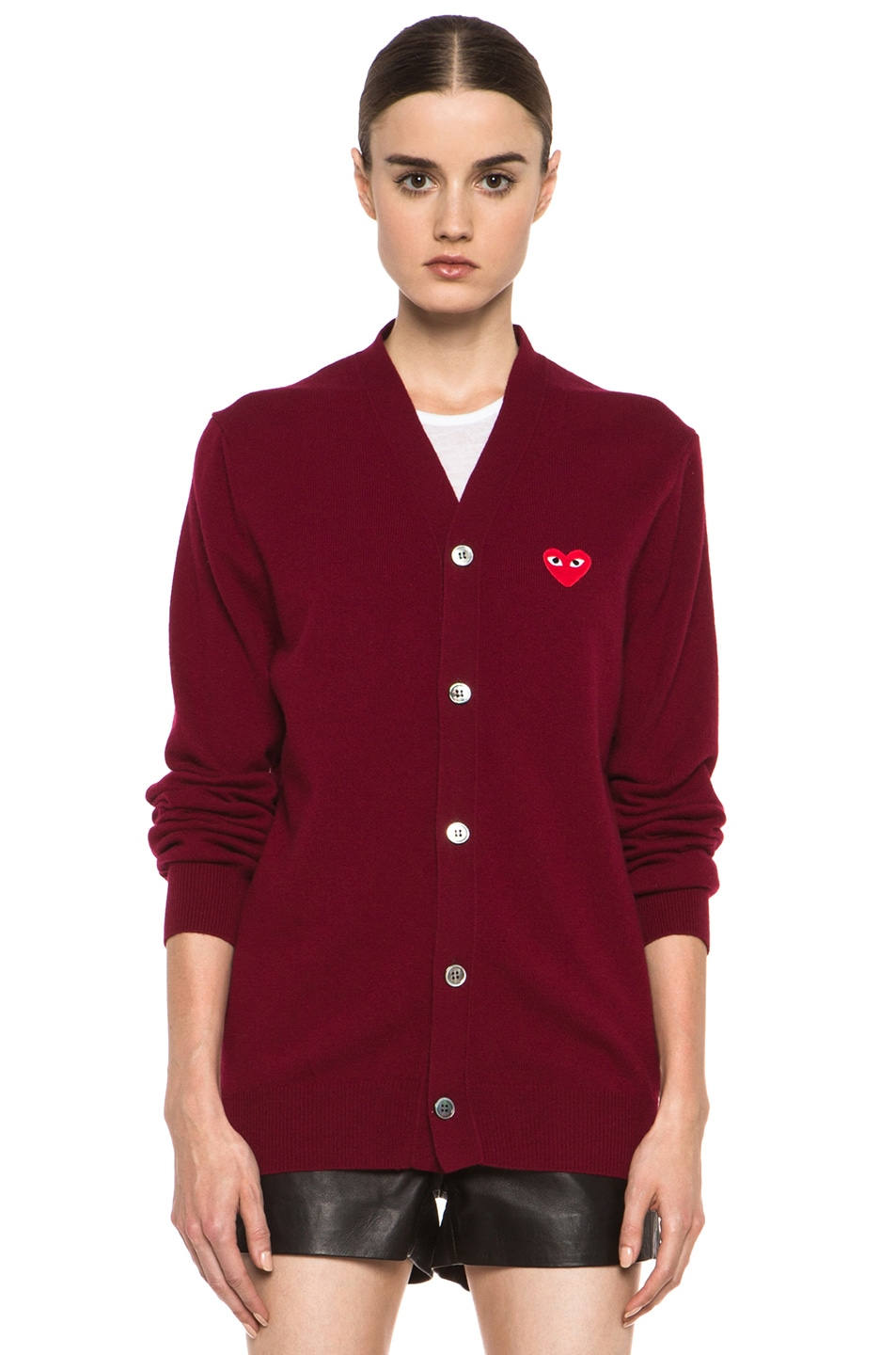 Image 2 of Comme Des Garcons PLAY Wool Cardigan with Red Emblem in Burgundy