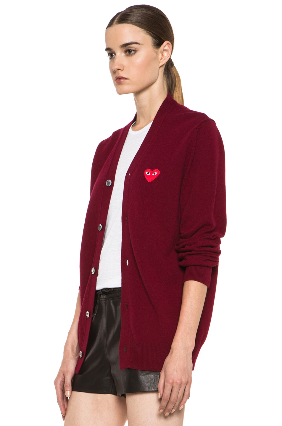 Image 3 of Comme Des Garcons PLAY Wool Cardigan with Red Emblem in Burgundy