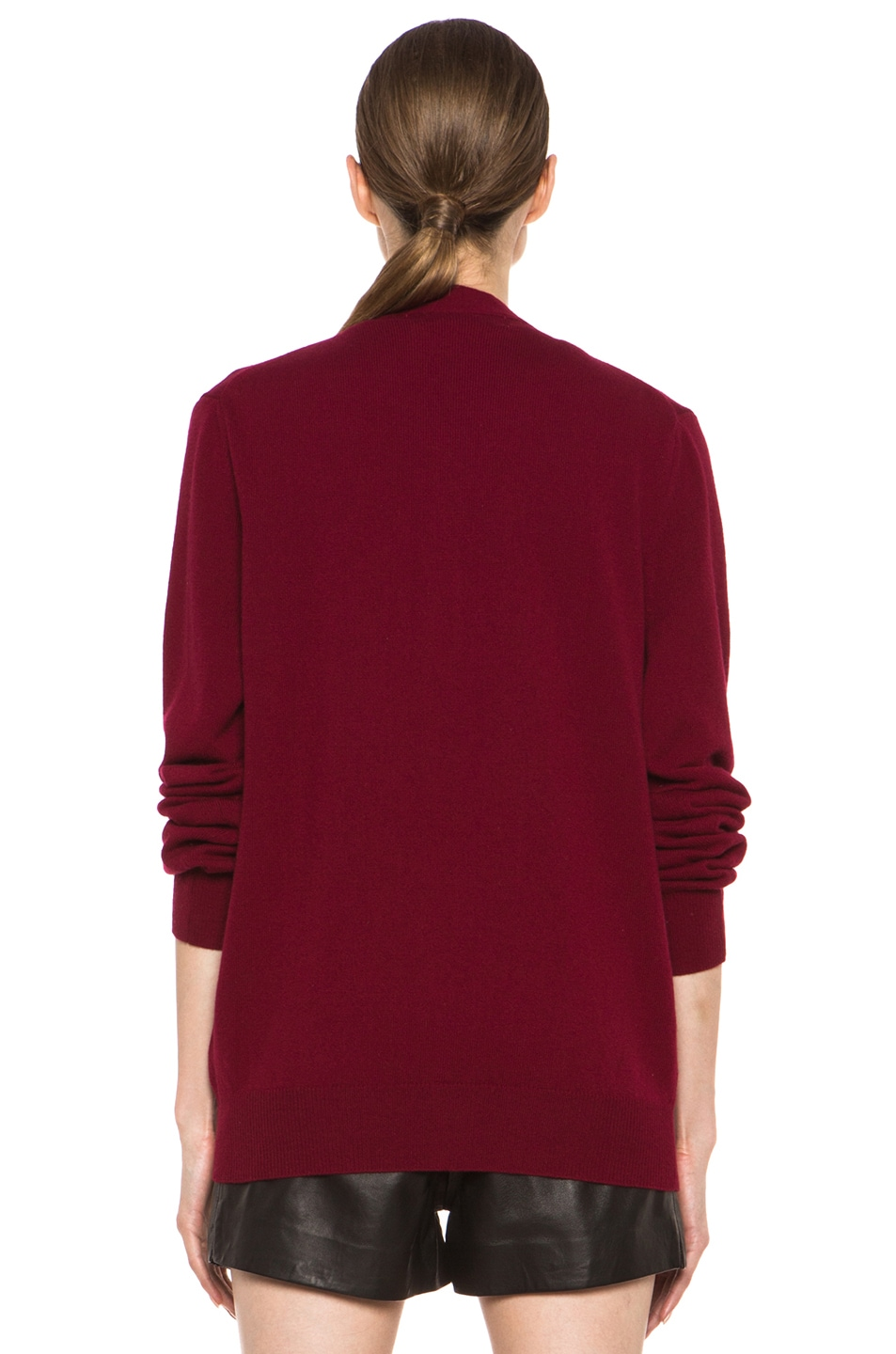 Image 5 of Comme Des Garcons PLAY Wool Cardigan with Red Emblem in Burgundy