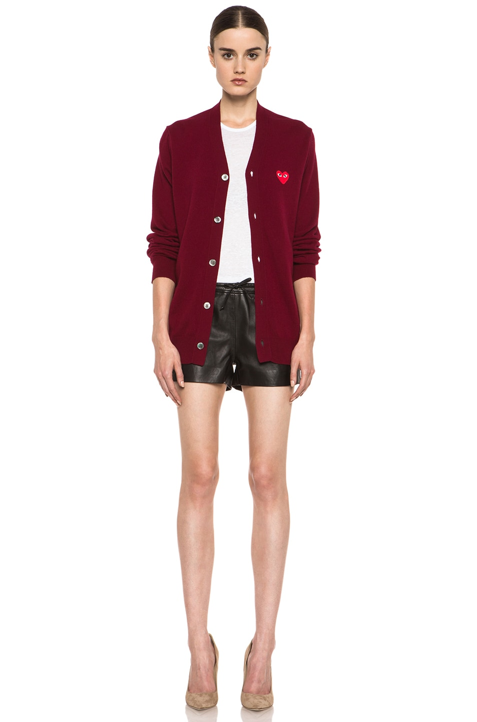 Image 6 of Comme Des Garcons PLAY Wool Cardigan with Red Emblem in Burgundy