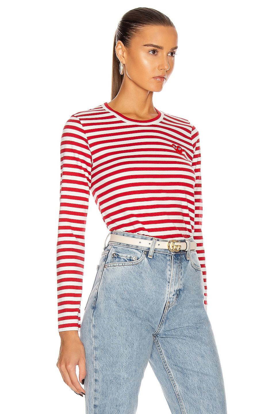 4 Stores Comme Des Gar Ons Play Embroidered Heart Striped