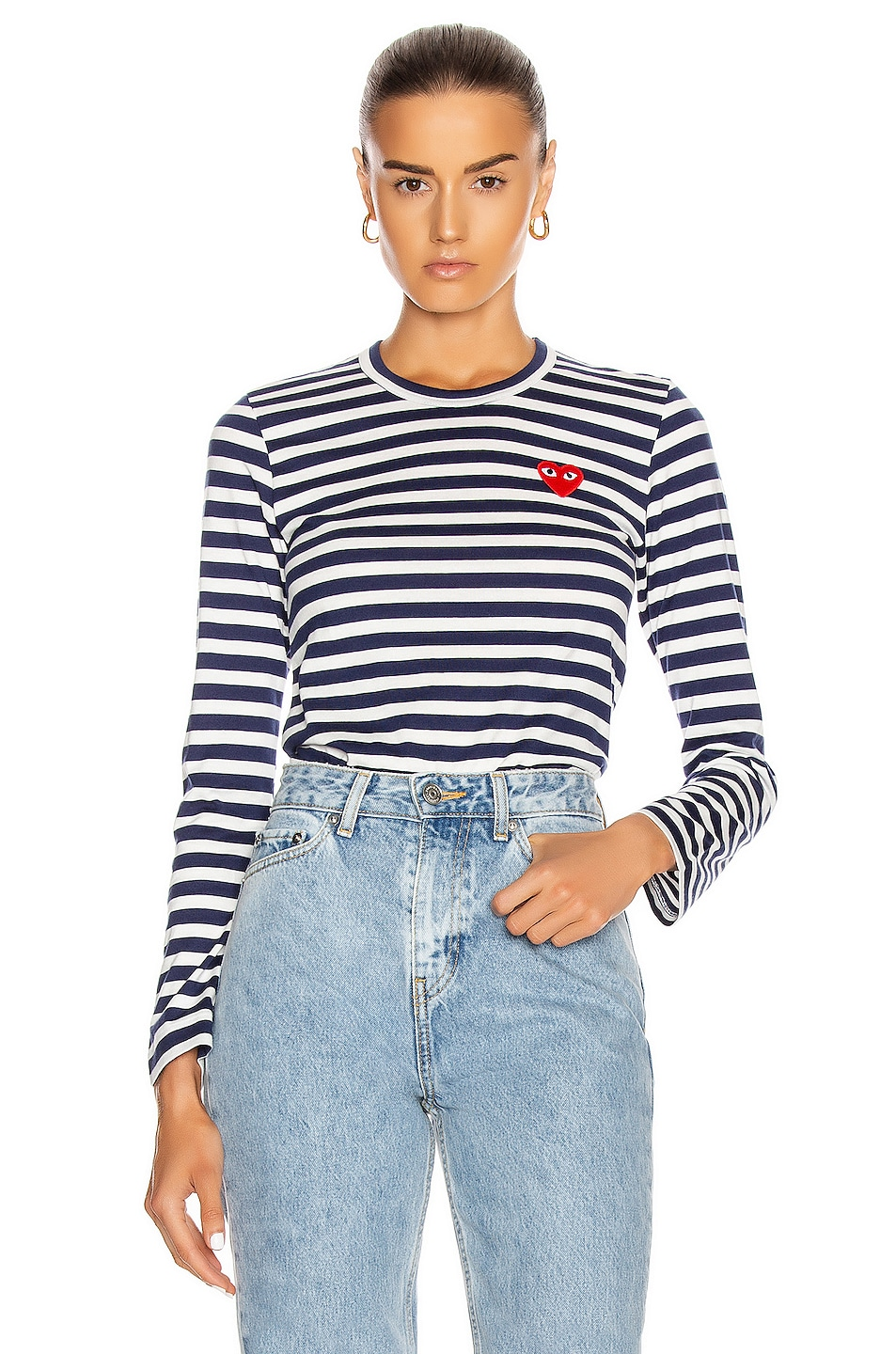Image 1 of Comme Des Garcons PLAY Stripe Red Heart Tee in Navy