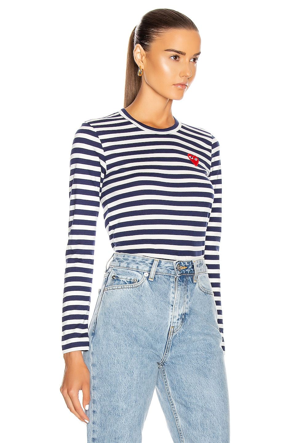 Image 2 of Comme Des Garcons PLAY Stripe Red Heart Tee in Navy