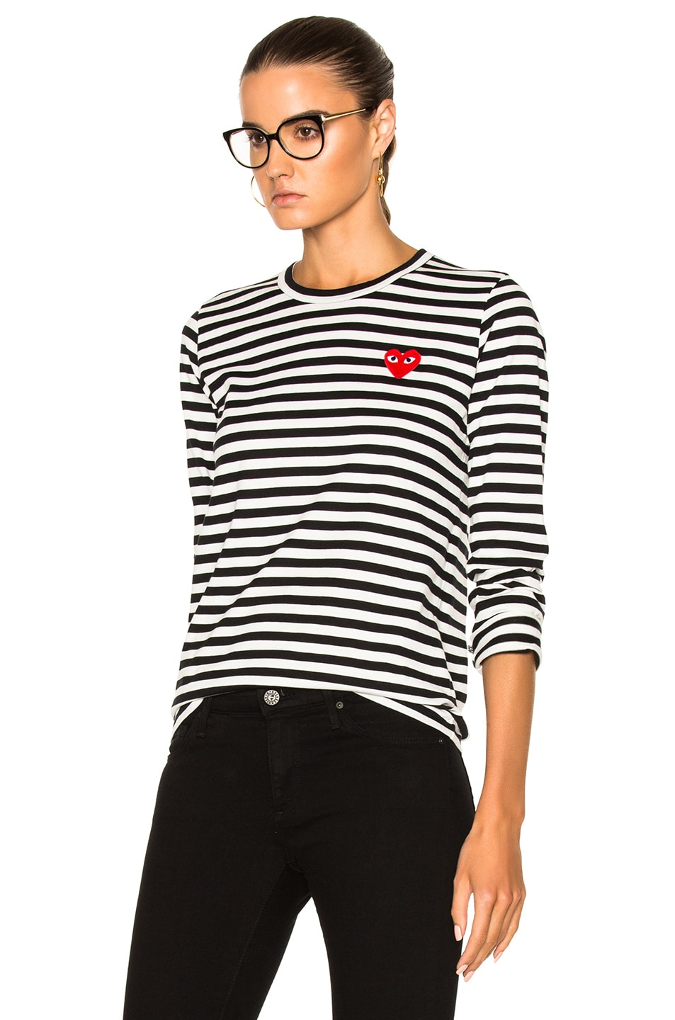 Image 2 of Comme Des Garcons PLAY Cotton Red Emblem Stripe Tee in Black