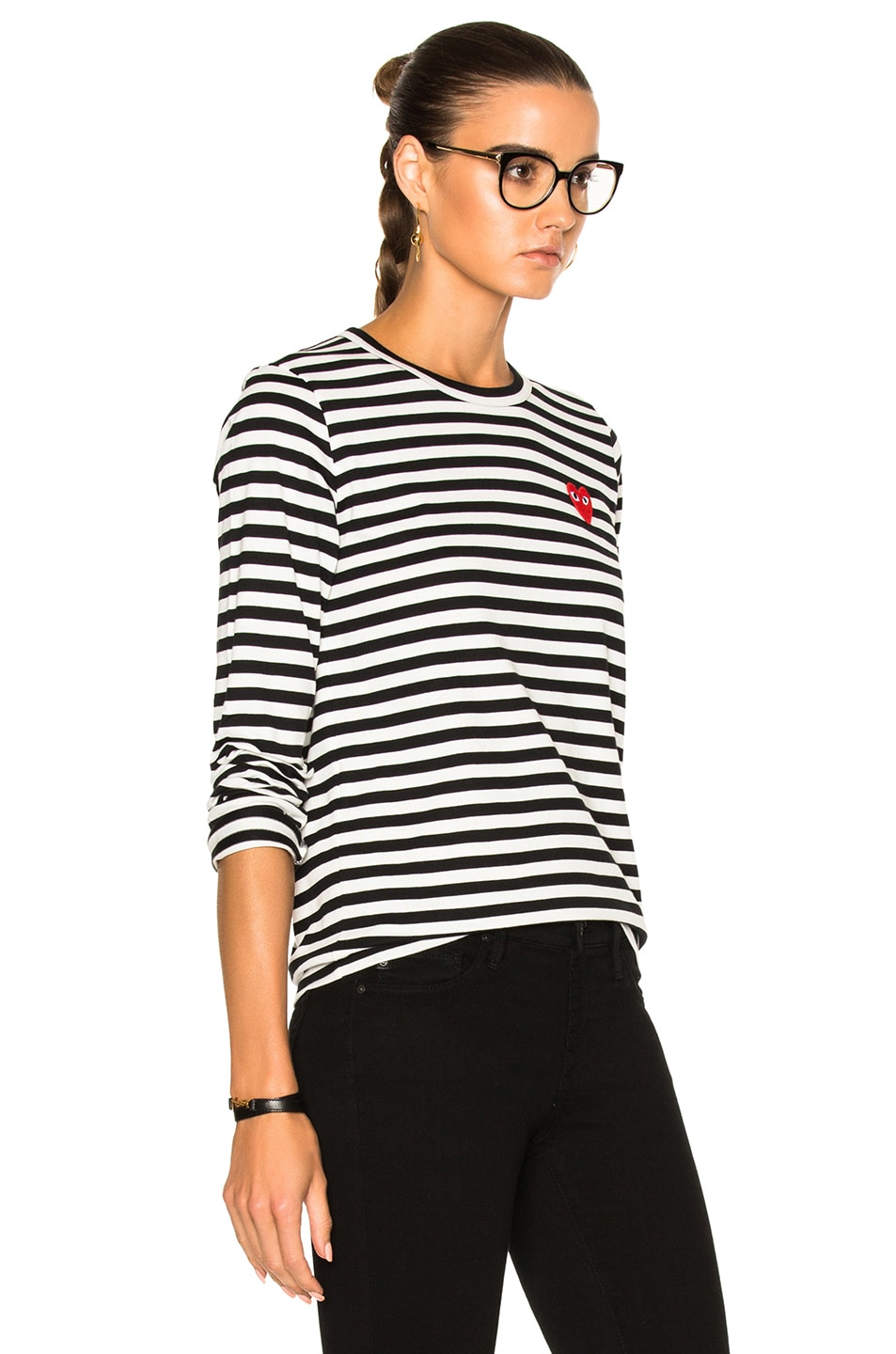 Image 3 of Comme Des Garcons PLAY Cotton Red Emblem Stripe Tee in Black