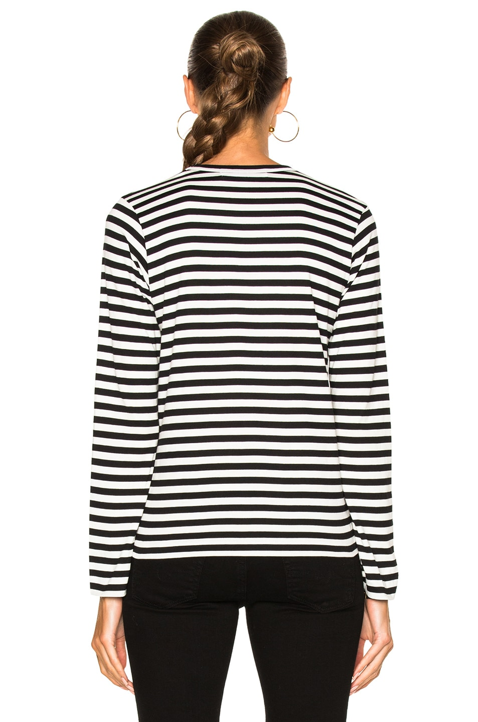 Image 4 of Comme Des Garcons PLAY Cotton Red Emblem Stripe Tee in Black
