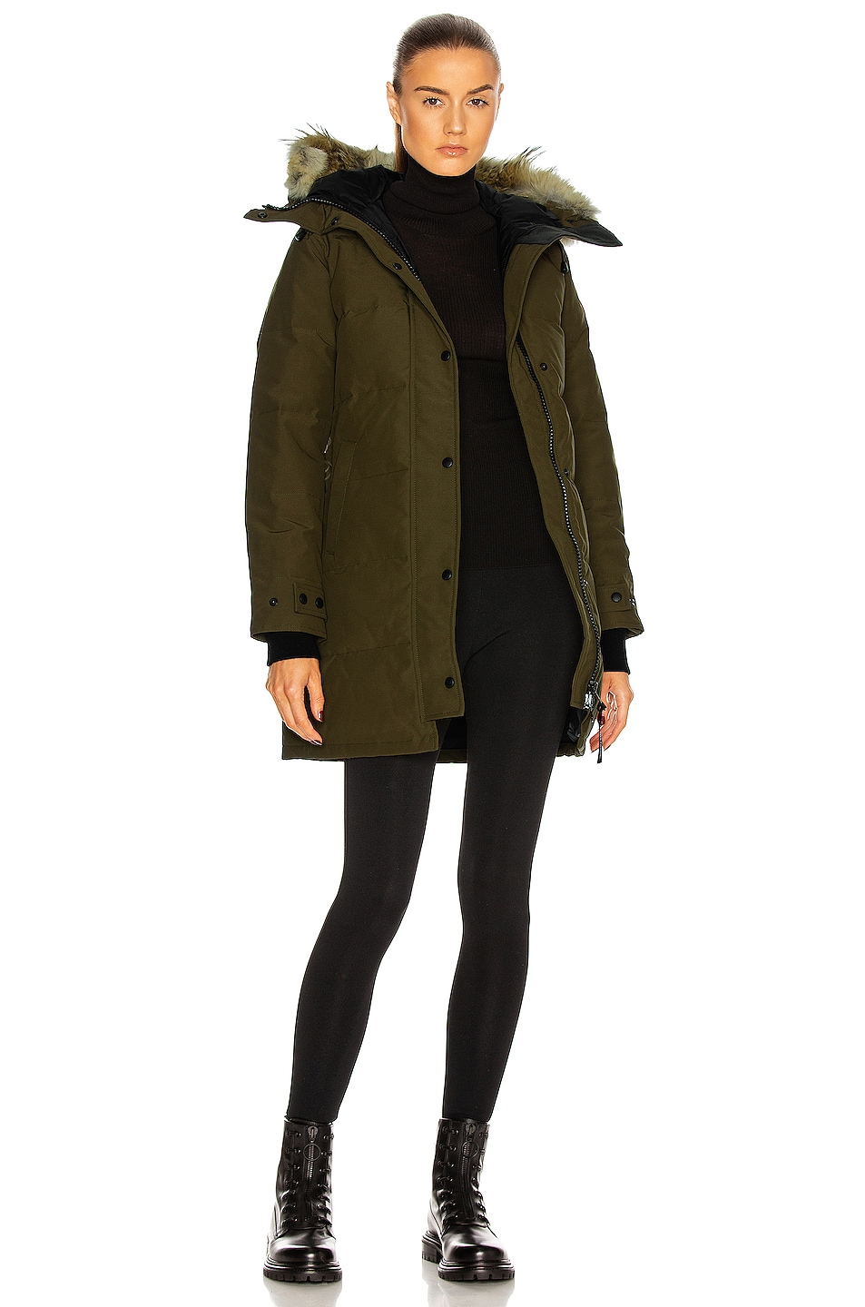 Canada Goose trillium parka outlet shop - Canada Goose Shelburne Parka with Coyote Fur in Military Green | FWRD