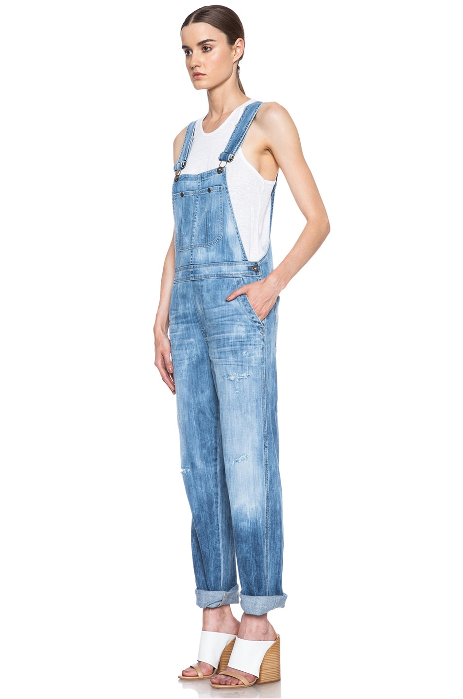 Image 2 of Citizens of Humanity Quincey Overalls in Sun Bleach