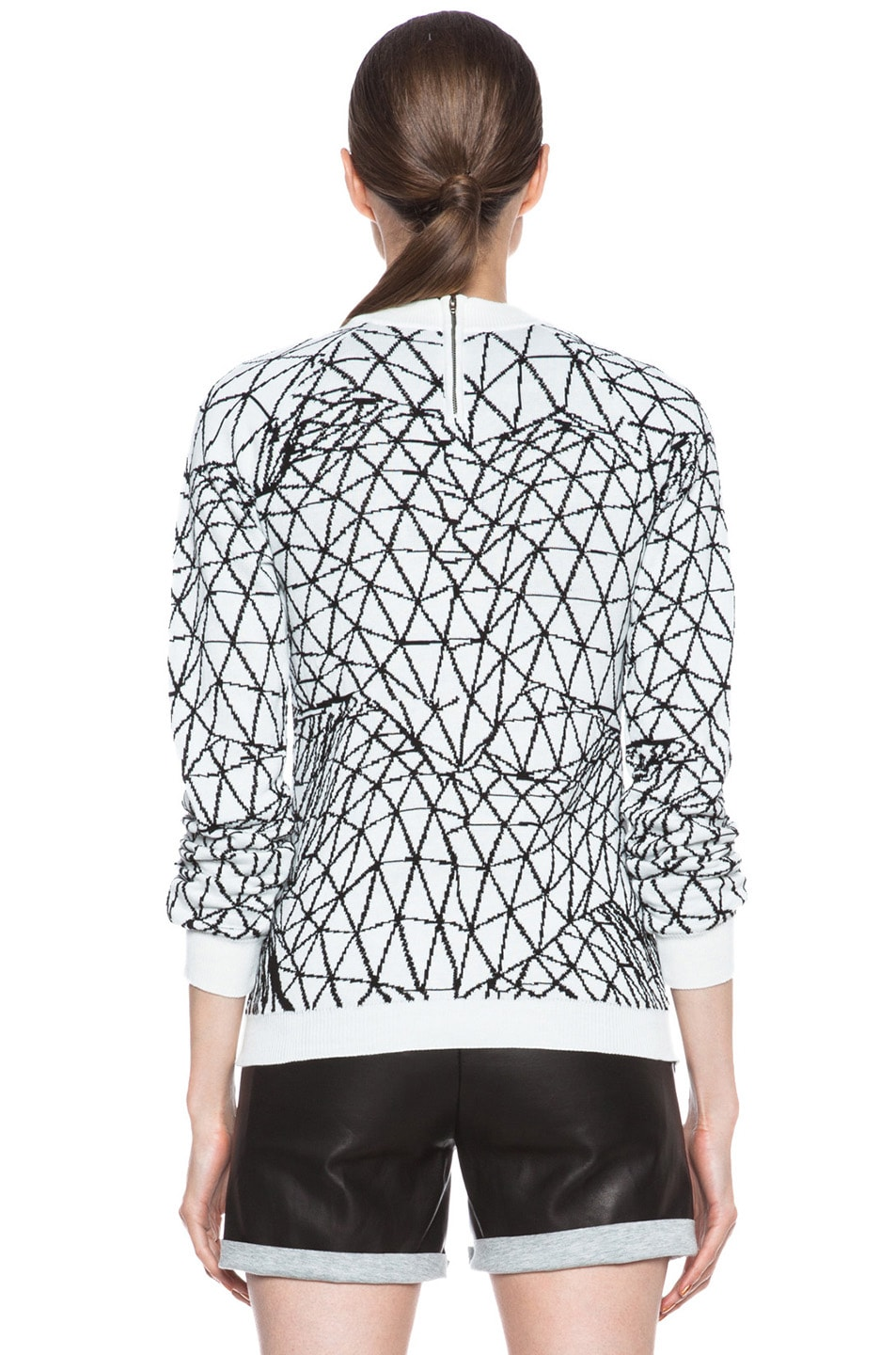 Image 4 of Christopher Kane Intarsia Terrain Cotton Fitted Sweater in White