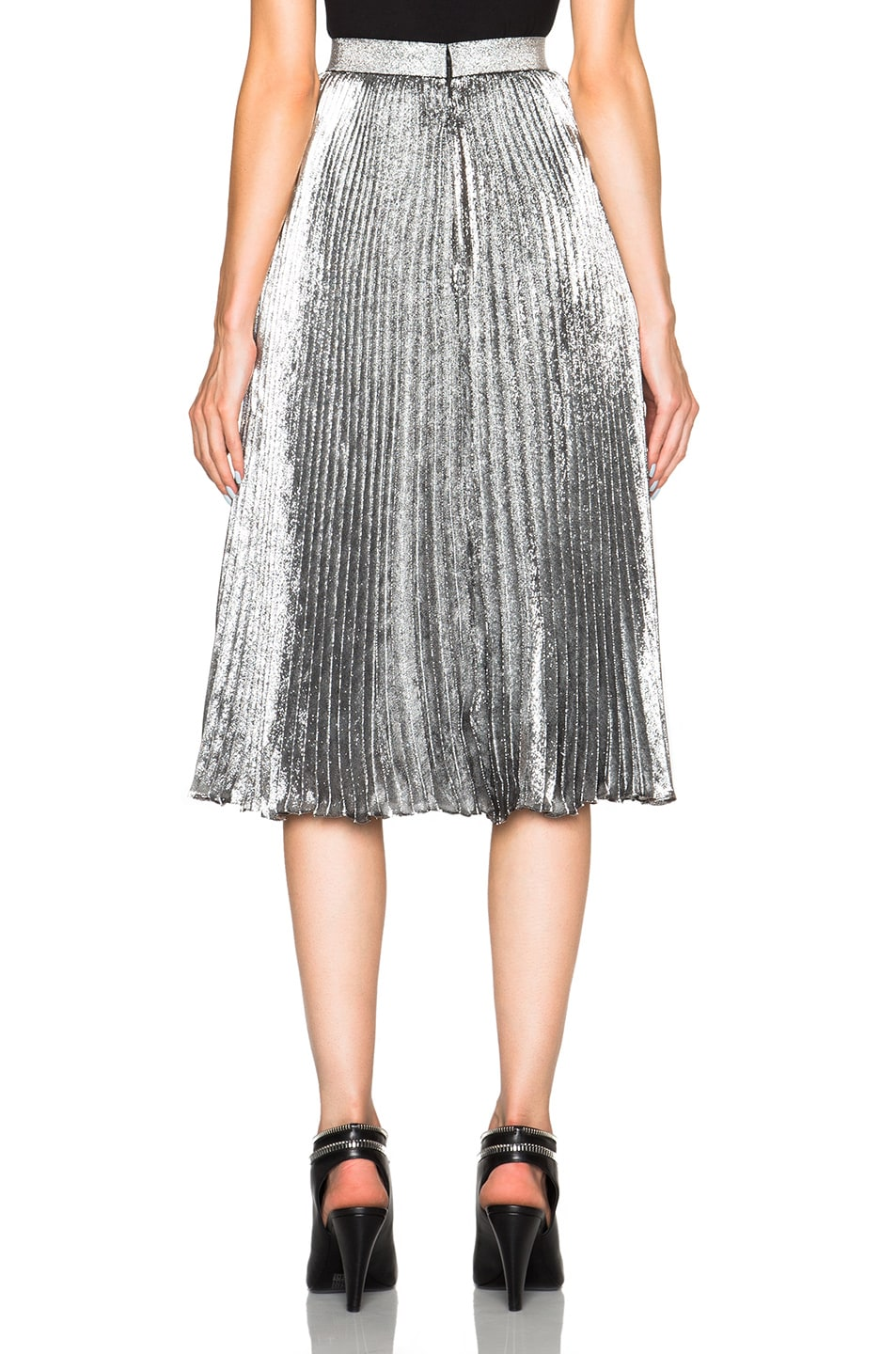 christopher lame pleated skirt in silver fwrd